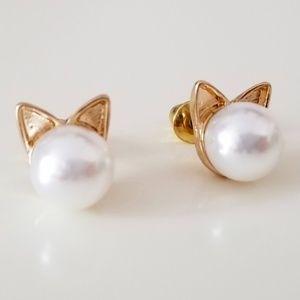 Jewelry - NWOT Gold Cat Kitten Ears Imitation Pearl Studs nw